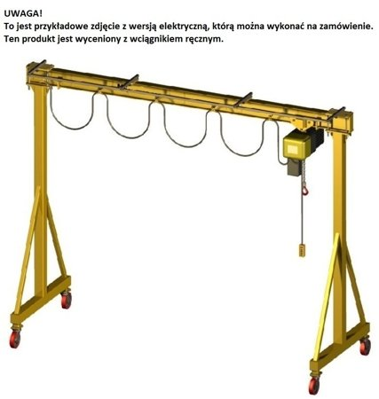 33948184 Wciągarka bramowa skręcana miproCrane DELTA 300, wersja z wciągarką ręczną (udźwig: 500 kg, rozpiętość: 1800 mm, wysokość podnoszenia: 2200 mm)