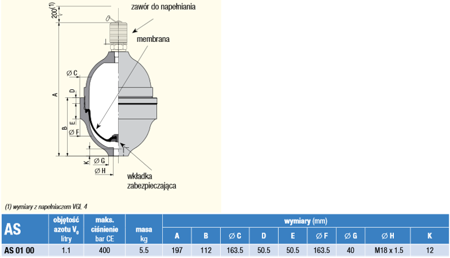 DOSTAWA GRATIS! 01538879 Akumulator hydrauliczny Hydro Leduc (objętość azotu: 1,1 l/dm³, maksymalne ciśnienie: 400 bar)