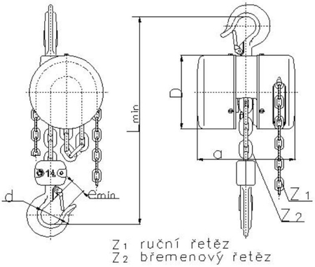 DOSTAWA GRATIS! 2202690 Wciągnik łańcuchowy z przekładnią planetarną Z100/0.5t (wysokość podnoszenia: 3m, udźwig: 0,5 T)