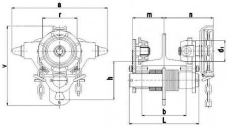 DOSTAWA GRATIS! 22038963 Wózek jedno-belkowy z napędem ręcznym Z420-A/1.0t/10m (wysokość podnoszenia: 10m, szerokość dwuteownika od: 50-113mm, udźwig: 1 T)