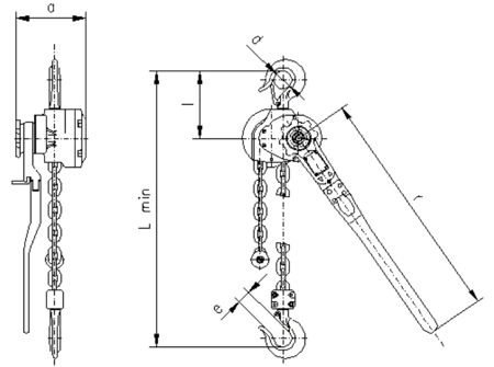 DOSTAWA GRATIS! 2209131 Wciągnik dźwigniowy, rukcug z łańcuchem ogniwowym RZC/0.8t (wysokość podnoszenia: 4,5m, udźwig: 0,8 T)