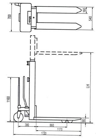 DOSTAWA GRATIS! 310506 Wózek podnośnikowy ręczny (wysokość podn. maks: 1500mm, udźwig: 1000 kg)