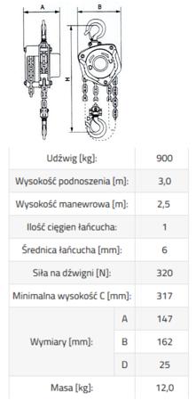 DOSTAWA GRATIS! 33948574 Wciągnik łańcuchowy ze stali nierdzewnej inox SBE INOX 0,9 3m (udźwig: 900 kg, wysokość podnoszenia: 3 m)