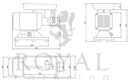 DOSTAWA GRATIS! 45643466 Wilk do mięsa Royal Catering (moc: 850W, wydajność przybliżona: 120-200kg/h)