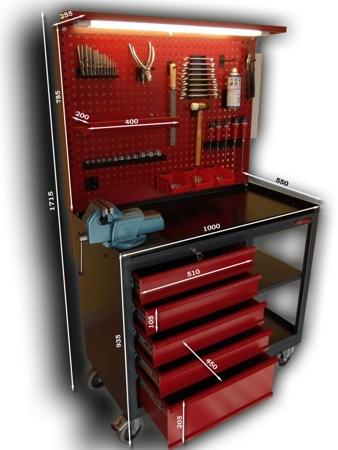 DOSTAWA GRATIS! 87853289 Wózek monterski, tablica, zawieszki, imadło (wymiary: 1715x1000x550 mm)