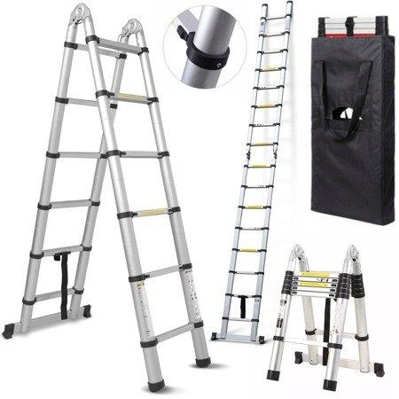 DOSTAWA GRATIS! 99674991 Drabina aluminiowa teleskopowa dwustronna + torba (wysokość robocza: 5,1m)