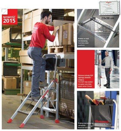 DOSTAWA GRATIS! 99675076 Drabina magazynowa / schody magazynowe FARAONE (wysokość robocza: 3,05m)