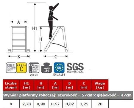 DOSTAWA GRATIS! 99675088 Drabina magazynowa FARAONE 4 stopniowa (wysokość robocza: 2,78m, wymiary platformy: 57x47 cm)