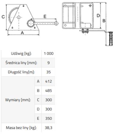 IMPROWEGLE Wciągarka linowa ERA 1 (bez liny, udźwig: 1000 kg) 3398496