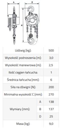 IMPROWEGLE Wciągnik łańcuchowy ze stali nierdzewnej inox SBE INOX 0,5 3m (udźwig: 500 kg, wysokość podnoszenia: 3 m) 33948573