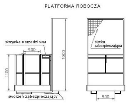 Platforma robocza dla 1 osoby (wymiary: 800 x 1200 x 1800 mm) 29046347