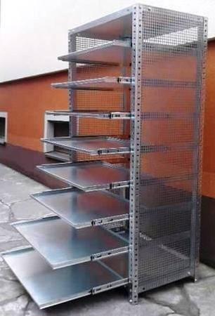Regał ocynkowany z 8 wysuwanymi półkami (wymiary: 2000x940x500 mm, obciążenie półki: 40 kg) 77156806