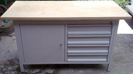 Stół warsztatowy, 4 szuflady, 1 szafka (wymiary: 1500x750x900 mm) 77156943