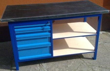 Stół warsztatowy, 4 szuflady, 2 półki (wymiary: 1500x750x900 mm) 77156966