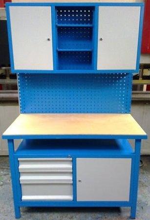 Stół warsztatowy + nadbudowa wysoka, 3 szuflady, 3 szafki (wymiary: 1200x600x1800 mm) 77156918