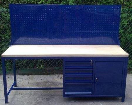 Stół warsztatowy z nadbudową perforową, 4 szuflady, 1 szafka (wymiary: 2000x600x900 mm) 77156964