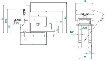 Wózek paletowy elektryczny XSLight Evo (udźwig: 1000 kg, długość wideł: 1150mm, wysokość podnoszenia: 1600mm) 03046971