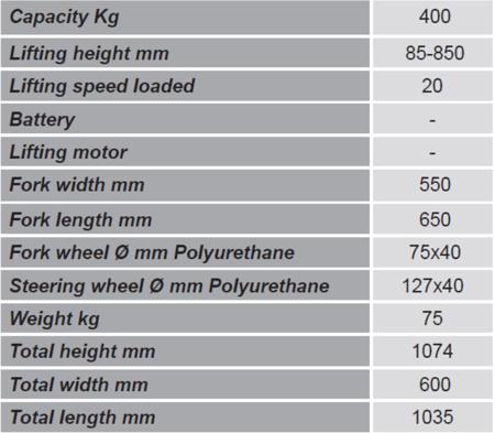 Wózek paletowy/platformowy podnośnikowy GermanTech (max wysokość: 85-850 mm, udźwig: 400 kg, długość wideł: 650 mm) 99724816