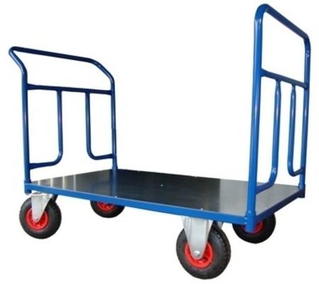 Wózek platformowy ręczny dwuburtowy (koła: pneumatyczne 225 mm, nośność: 250 kg, wymiary: 1000x700 mm) 13340613