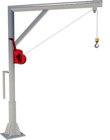 Żuraw słupowy wolnostojący z wciągarką ręczną (udźwig: 150 kg, długość liny: 12m) 95876366