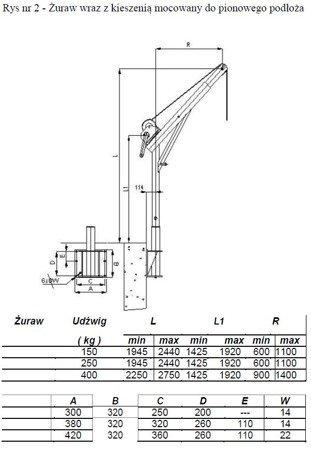 Żuraw ze stopą AISI316 i wciągarką ręczną z liną AISI304 12m (udźwig: 250 kg, wysokość podnoszenia: 1945-2440 mm) 53376242